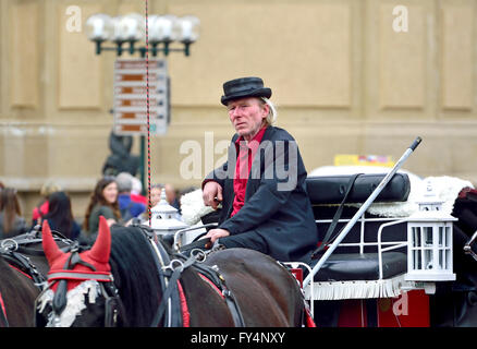 Prague, Czech Republic. Horse and carriage driver in Old Town Square - Stock Photo
