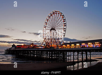 Blackpool's Central Pier at Dusk - Stock Photo