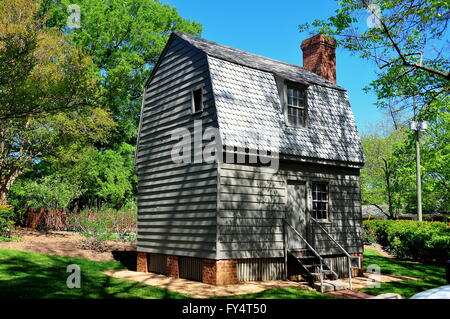 Raleigh, North Carolina:  Birthplace of President Andrew Johnson, a small wooden home with gambrel roof - Stock Photo