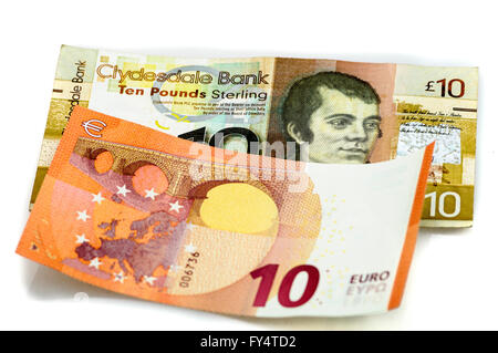 Clydesdale Bank £10 note from Scotland with  €10 Euro. - Stock Photo