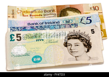 Banknotes from the Clydesdale Bank in Scotland, Bank of Ireland in Northern Ireland and the Bank of England, all - Stock Photo