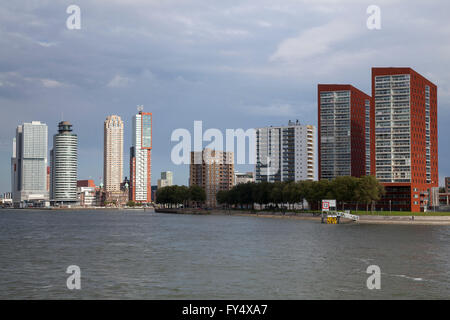 Skyline on the Nieuwe Maas river, Rotterdam, Holland, The Netherlands - Stock Photo