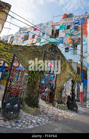 Vertical view of the entrance to Hamel's Alley in Havana, Cuba. - Stock Photo