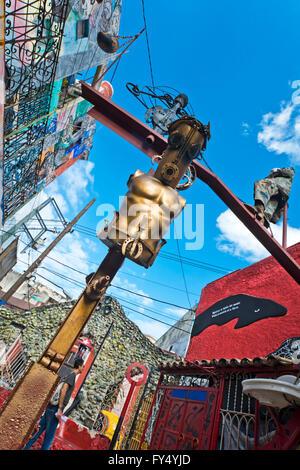 Vertical view of the exhibits inside Hamel's Alley in Havana, Cuba. - Stock Photo
