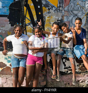 Square portrait of children at Hamel's Alley in Havana, Cuba.