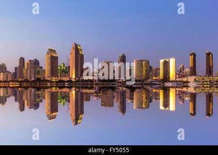 San Diego skyline with San Diego Bay at sunset from Coronado Island, California, USA. - Stock Photo