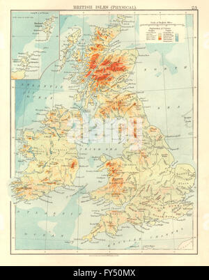 BRITISH ISLES RELIEF. Showing isotherms in January & July. JOHNSTON, 1906 map - Stock Photo
