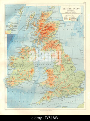 BRITISH ISLES RELIEF. Showing isotherms in January & July. JOHNSTON, 1920 map - Stock Photo