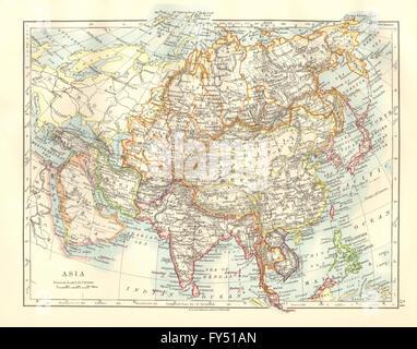 ASIA POLITICAL Persia Siam Hejaz China Japan Corea Turkestan - Japan map 1920