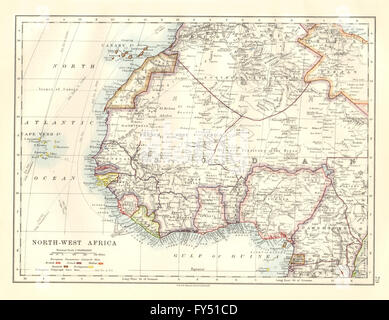 COLONIAL/FRENCH WEST AFRICA. Spanish Guinea. Rio de Oro. Nigeria, 1920 old map - Stock Photo