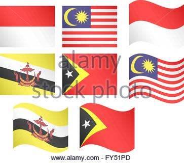 Asian Flags 4 EPS 10 - Stock Photo