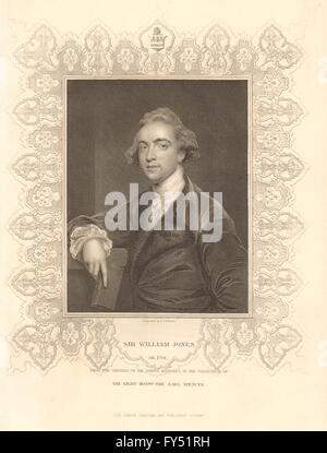 BRITISH HISTORY. Sir William Jones. Philologist. Scholar. India. TALLIS, 1849 - Stock Photo