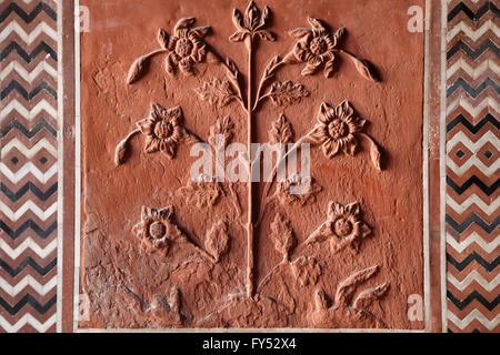 Tile with detail of flower, Taj Mahal, Agra, Uttar Pradesh, India - Stock Photo