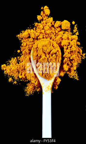Ground turmeric spice in a white spoon isolated on a black background