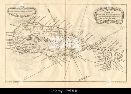 'Carte de l'Isle St. Christophe'. Saint Kitts, Caribbean. BELLIN, 1758 old map - Stock Photo