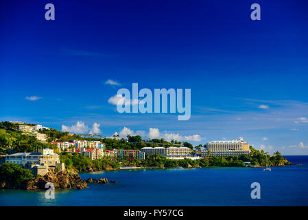 Sunset in St. Thomas from Carnival Cruise Line Ship to Marriott Beach Resort - Stock Photo