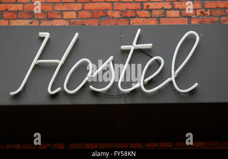 das Logo der Marke 'Hostel', Berlin. - Stock Photo