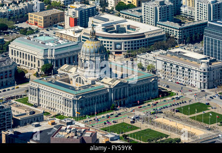 Aerial view, City Hall, Civic Center Plaza, Veterans Building, War Memorial Opera House, San Francisco, San Francisco - Stock Photo