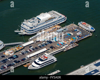 Aerial view of Pier 3, Pier to Alcatraz, San Francisco Belle dining yacht, Hornblower cruises, San Francisco - Stock Photo