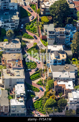 Aerial view, Lombard Street with hairpin turns, winding road, the streets of San Francisco, San Francisco - Stock Photo