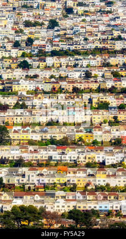 Aerial view, small detached, single-family houses at Doelger City, Outer Sunset, suburban district in the west of - Stock Photo