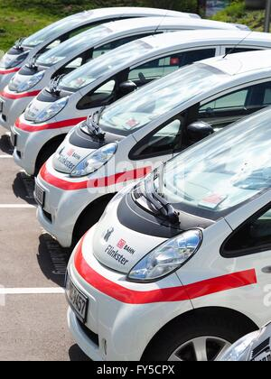 Electronic rental cars of Deutsche Bahn carsharing daughter company 'Flinkster' are seen in Berlin on April 04, - Stock Photo