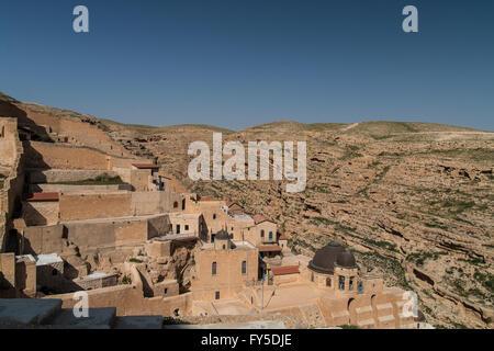 Mar Saba Greek Orthodox monastery Kidron Valley Palestine - Stock Photo