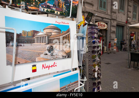 Postcards / post cards for sale outside a souvenir shop in Naples / Napoli , Italy. - Stock Photo