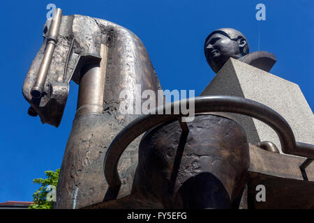 Equestrian statue of Jaroslav Hasek, Czech writer, Prokopovo namesti, Zizkov, Prague, Czech Republic - Stock Photo