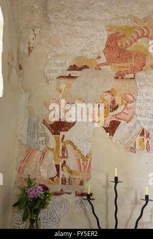 Medieval wall paintings in the parish church in the hamlet of Coombes in th Adur valley - Stock Photo