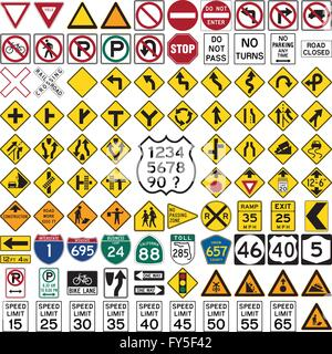 Collection of professional road sign and symbols on white - Stock Photo