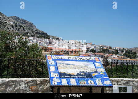 Ceramic welcome sign with the village to the rear, Valle De Abdalajis (Between Antequera and Alora), Malaga Province, - Stock Photo