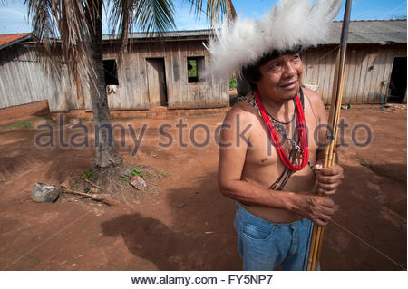 Gamasakaka Surui at Lapetanha, Rondonia, Brazil at the '7th September Indian Reserve', Brazil. - Stock Photo