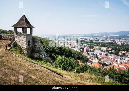 Turret in castle and cityscape Trencin, Slovak republic. Travelling theme. - Stock Photo