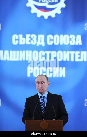 Russian President Vladimir Putin speaks at the annual Russian Mechanical Engineers Union conference at the Kremlin - Stock Photo