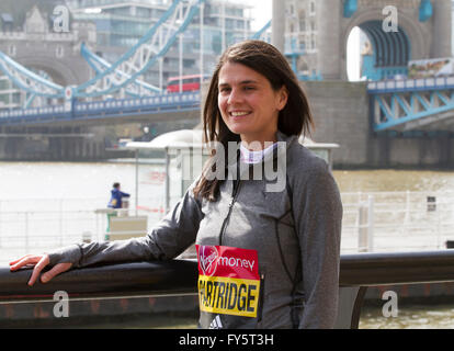 Tower Bridge,London,UK,21st April 2016,British runner Susan Partridge aiming for selection for the 2016 Olympic - Stock Photo