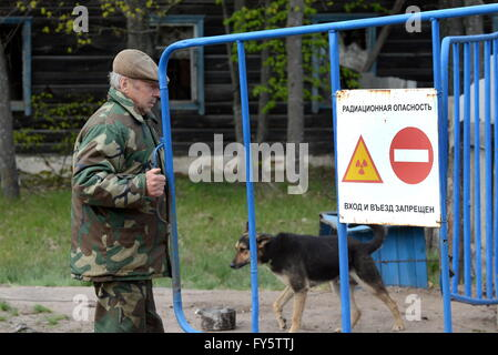 Gomel Region, Belarus. 22nd Apr, 2016. A checkpoint at an entrance to the village of Tulgovichi, Khoiniksky District, - Stock Photo