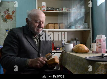 Gomel Region, Belarus. 22nd Apr, 2016. Ivan Shamyanok in his house in the village of Tulgovichi, Khoiniksky District, - Stock Photo