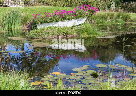 White rowing boat full of flowers on an island in a pond - Stock Photo