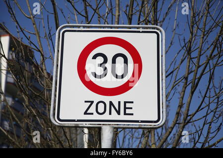 30 zone traffic sign - Stock Photo