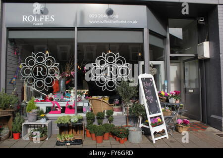 The shop front of Rolfe's Florists in Cardiff. - Stock Photo
