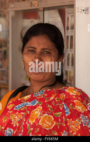 Little India,Singapore-2008.Portrait of unknown Hindu woman, dressed in traditional dress and ooking directly in - Stock Photo