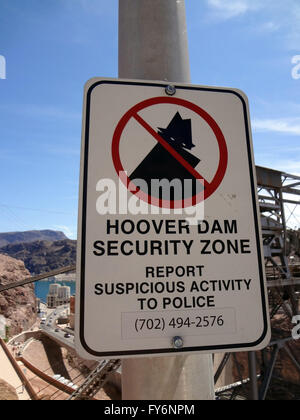 Hoover Dam Security Zone - Sign displayed outside dam facility. - Stock Photo