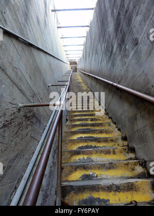 Old Concrete Staircase, built by the military, up to the top of Diamond Head Crater on the island of Oahu. - Stock Photo