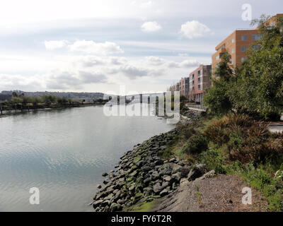 Shoreline of Mission Creek in San Francisco, California - Stock Photo