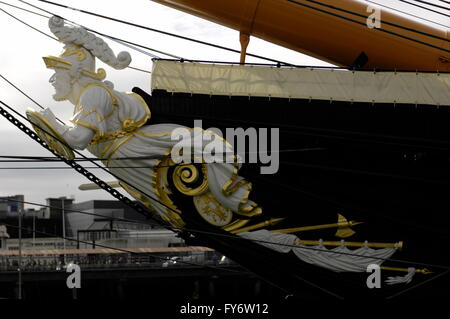 AJAXNETPHOTO. 4TH JUNE, 2015. PORTSMOUTH, ENGLAND.  - HMS WARRIOR 1860 - FIGUREHEAD AND TRAILBOARDS OF THE FIRST - Stock Photo