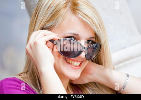 Blonde portrait eyes-contact eyescontact people attentive - Stock Photo
