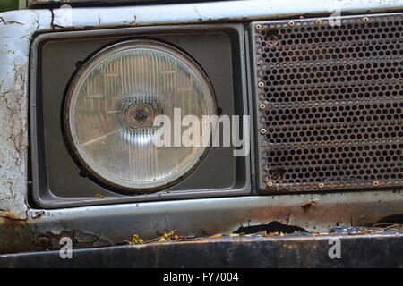 Close Up Old Headlights Of Car Background And Texture