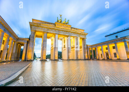 Brandenburger Tor (Brandenburg Gate) in Berlin Germany at night. - Stock Photo