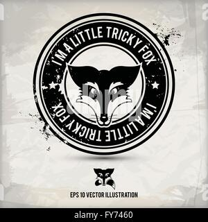 alternative black fox label / stamp on textured background, which is made from several transparent layers for a - Stock Photo